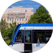 ION train in uptown Waterloo