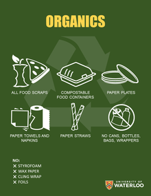 food scraps, compostable food containers, paper plates, paper towels, paper straws, NO cans, bottles, bags, wrappers, styrofoam, wax paper, cling wrap, foils