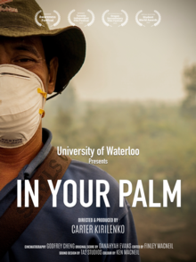In Your Palm film poster; man with face mask in hazy field