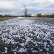 Road salt spread on a road