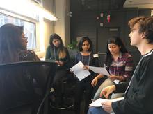 UWaterloo student team brainstorming at WWF hackathon