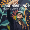 Woman in helmet taking a selfie in front of a wall mural; text overlaid that reads Bike Month 2021: Photo and Story Contest