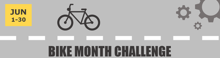 Bike Month Challenge banner, June 1-30 with bicycle and gear icons