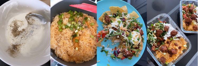 Four screenshots of sour cream, Beyond Meat cooking, final product, and leftovers
