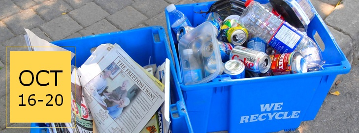 Recycling bins with text reading Oct 16-20