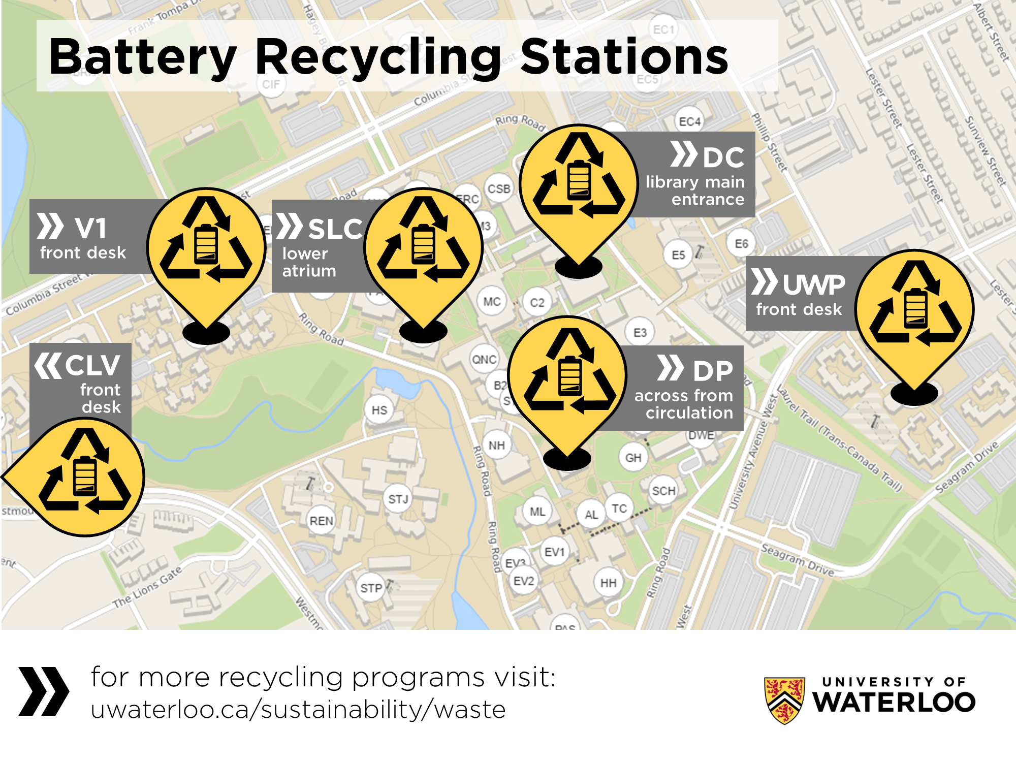 Battery recycling stations on campus