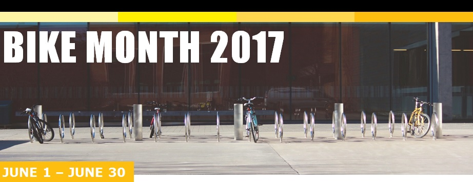 Bike racks and header image with Bike Month 2017 from June 1 to June 30