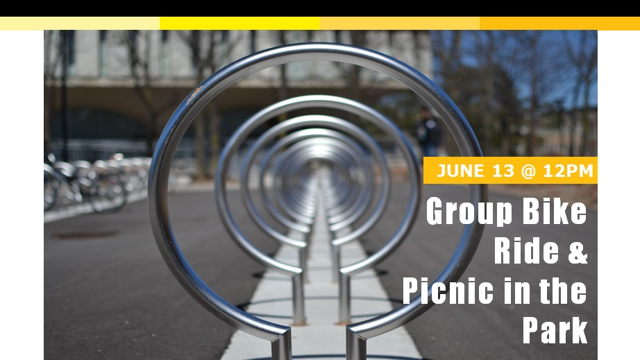 Bike racks that shows June 13 Group Bike Ride and Picnic in the Park