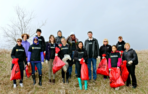 community clean-up group on a hill from 2017