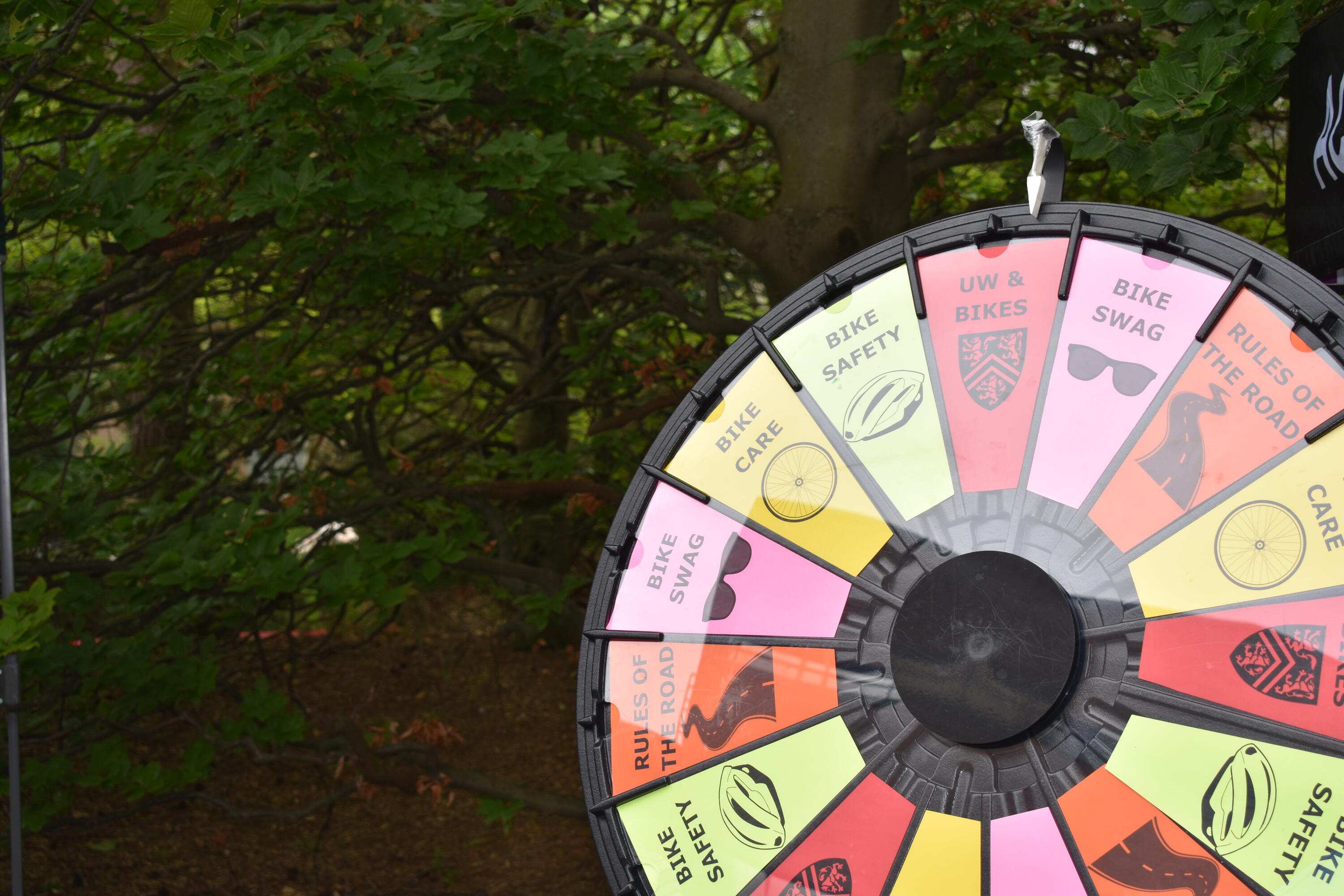 Spin-the-wheel activity with cycling-related prizes