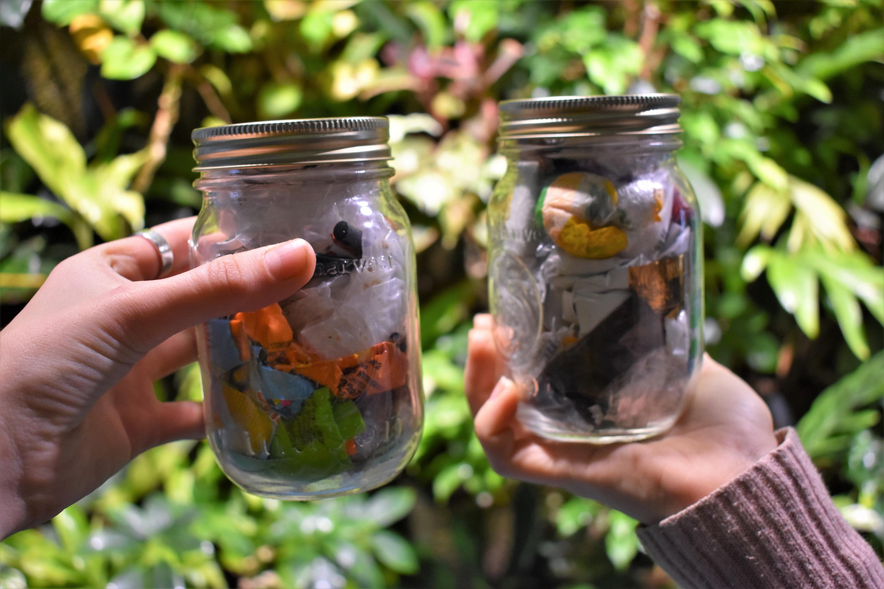 Beth and Andrea's mason jars after the 30 day challenge