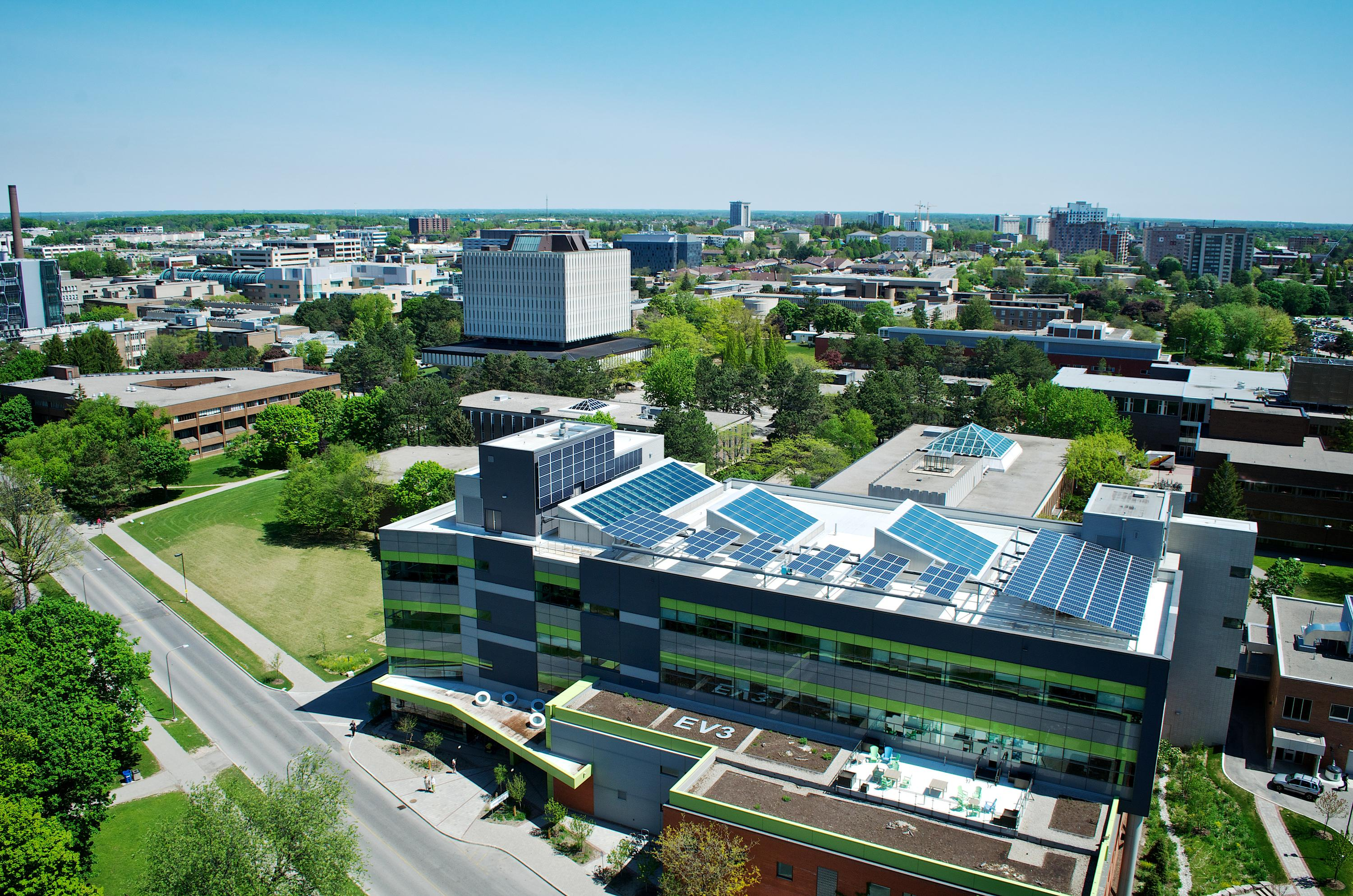 Aerial view of campus with focus on Environment 3 Building