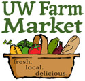UW Farm Market Logo - fresh, local, delicious written on vegetable basket