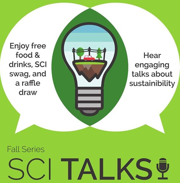 "Words, ""SCI Talks"" with car inside lightbulb"