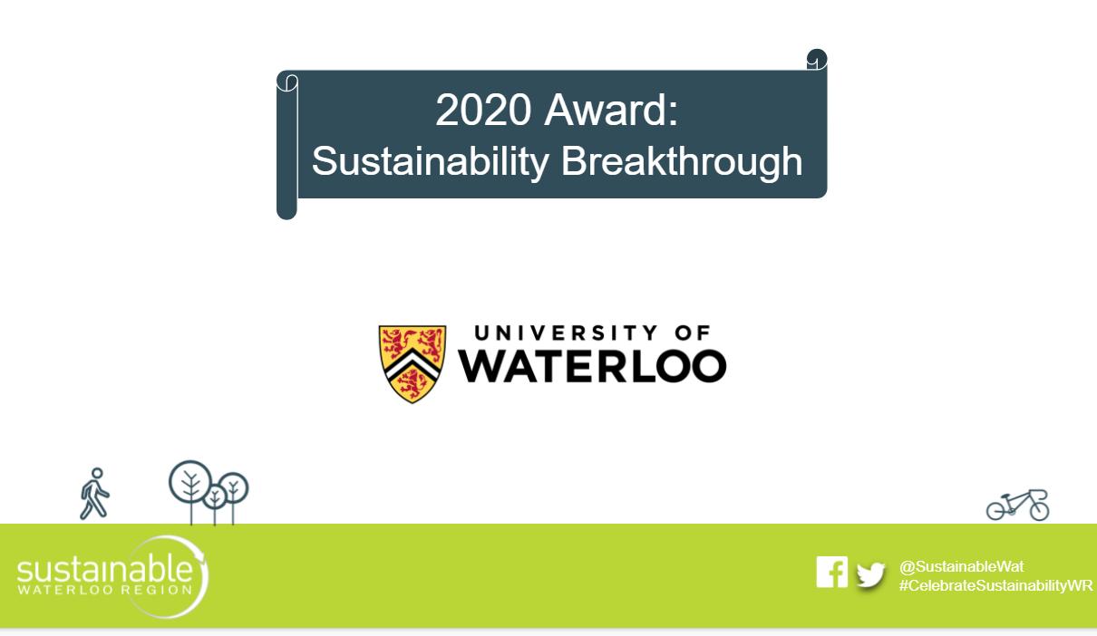 Presentation slide announcing Sustainability Breakthrough Award with University of Waterloo logo