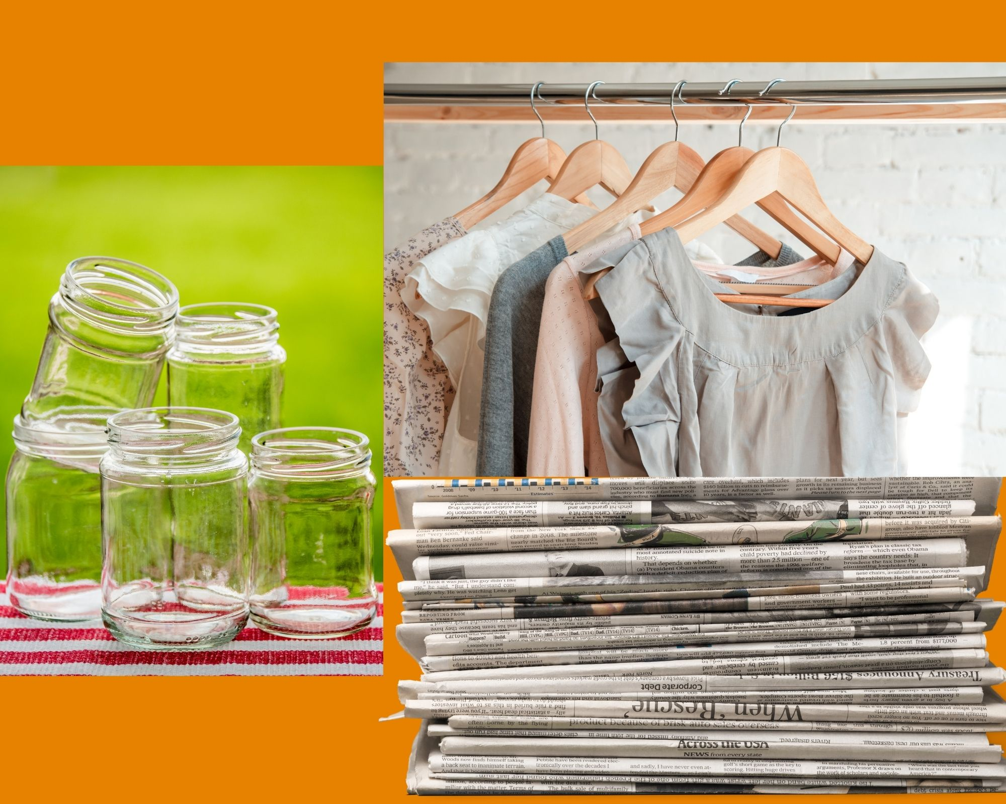jars, hanging shirts and folded newspaper