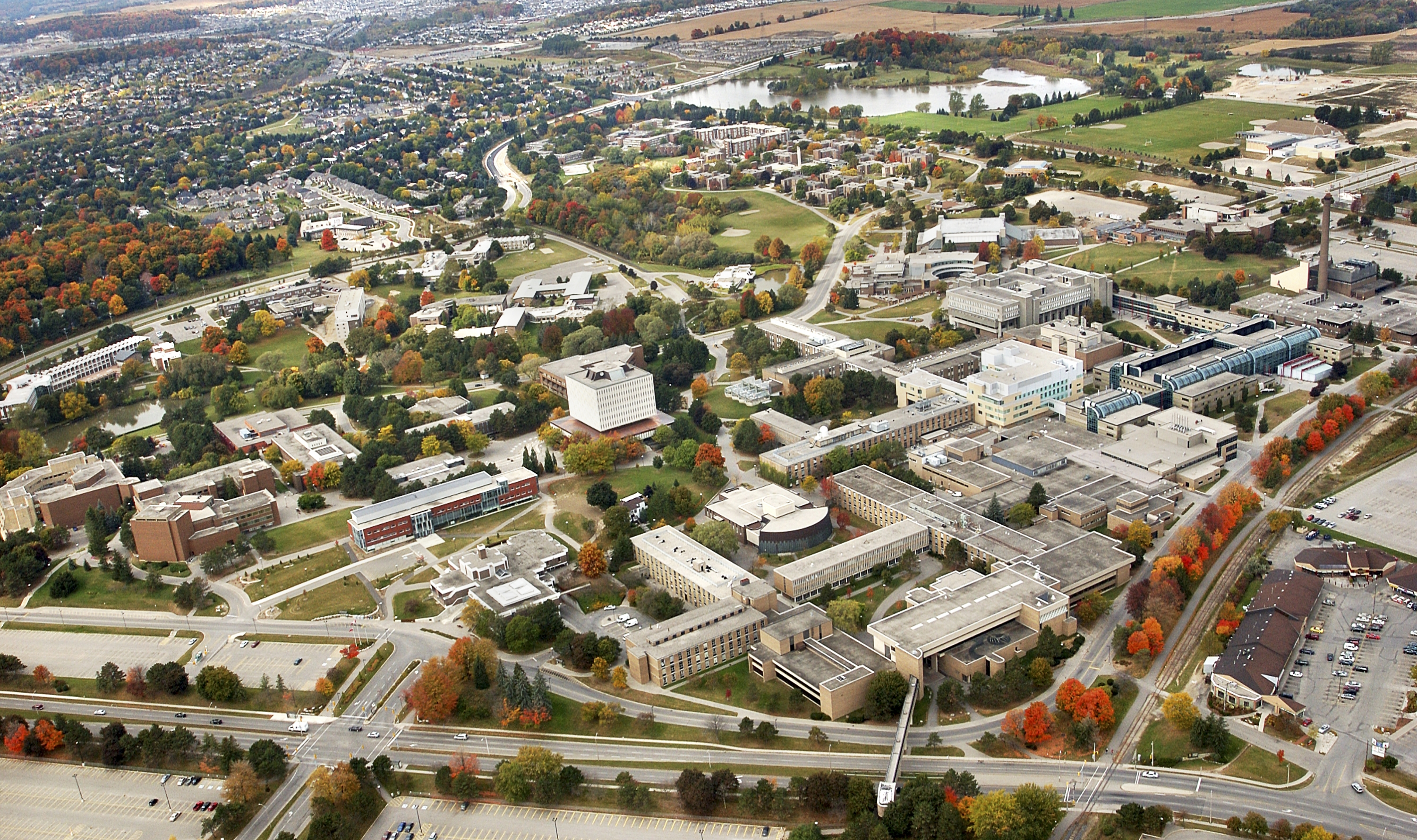 Campus aerial photograph in fall
