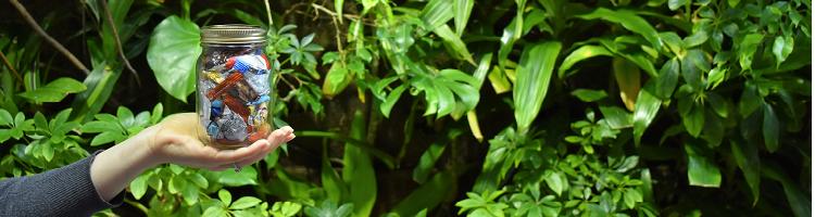 Hand holding up mason jar against greenery background