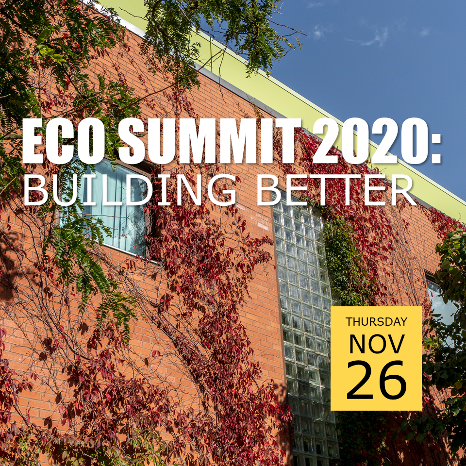 Photo of EV1 in fall with red leaves and green vines, with text Eco Summit 2020: Building Better, Thursday November 26