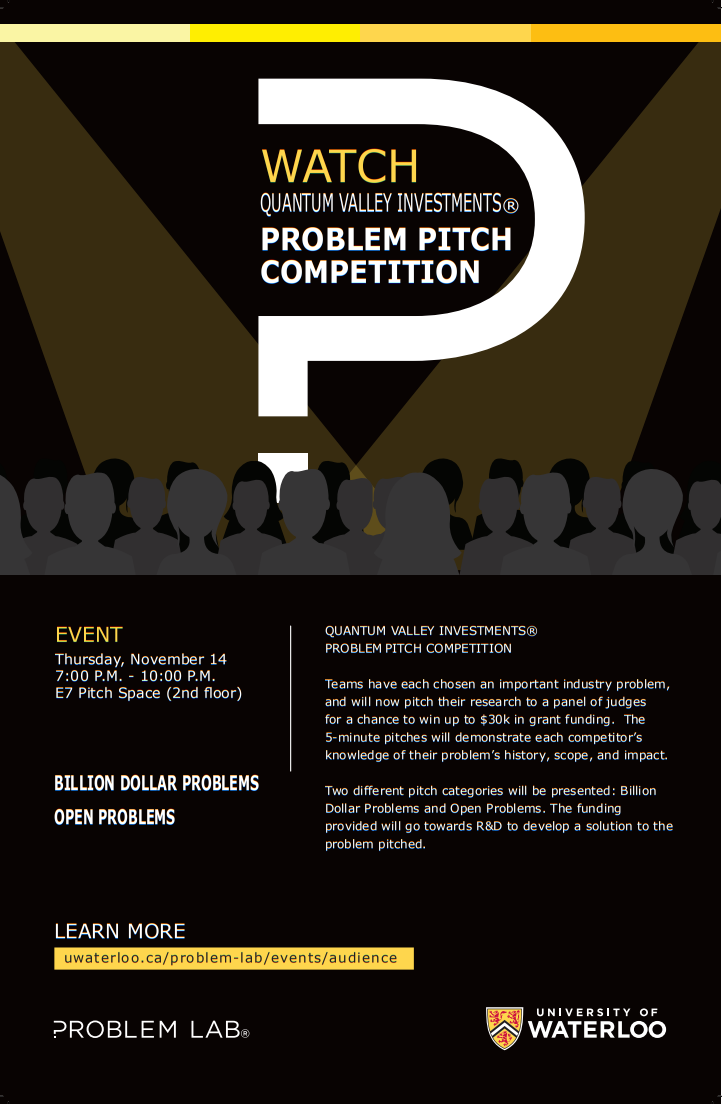 Quantum Valley Investments® Problem Pitch Competition flyer