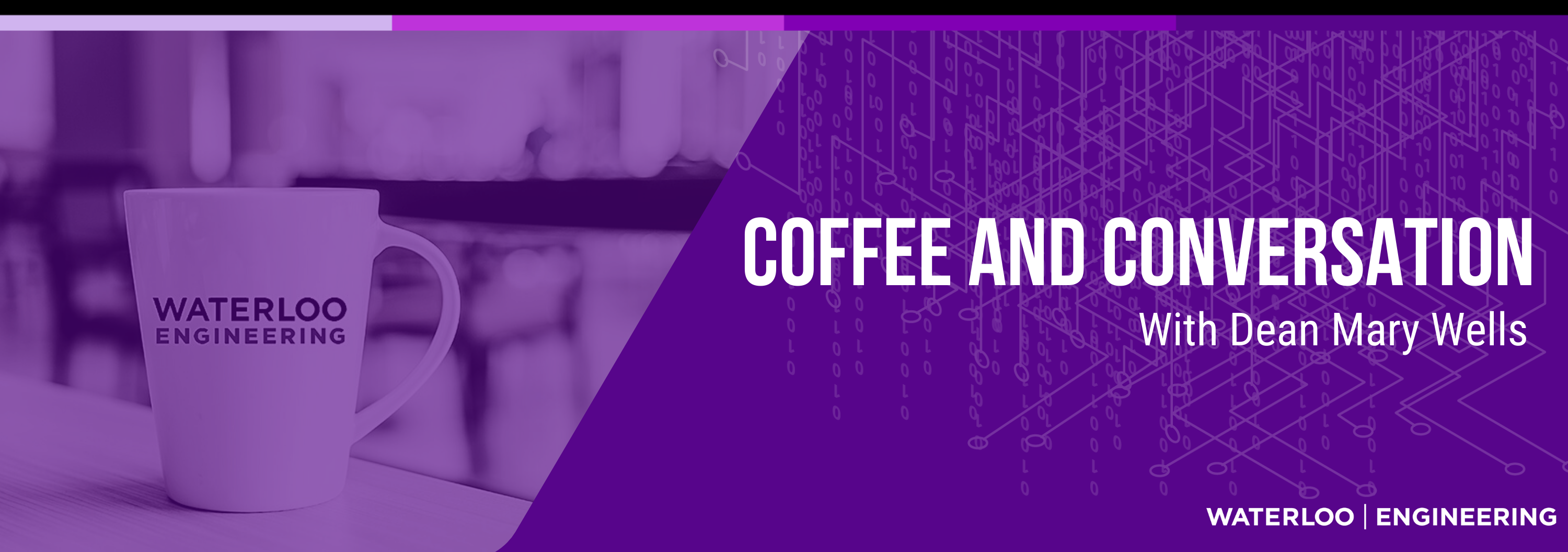 Purple Graphic Coffee and Conversation with Dean Mary Wells
