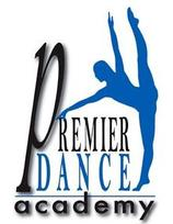 Silohuette of a dancer in blue with the words Permiere Dance Academy.