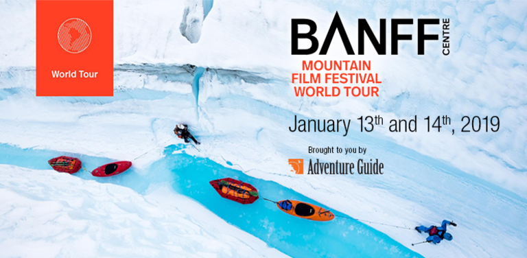 Poster for Banff Film tour featuring canoes on a river in the tundra.