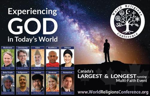 Poster for World Religion Conference event showing headshots of the panelists and text of event information.