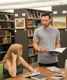 Jonathan and Carol in the library