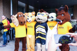 University Mascots in Thrive T-Shirts