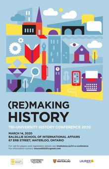 Remaking history poster of stylized buildings, writing instruments, technology