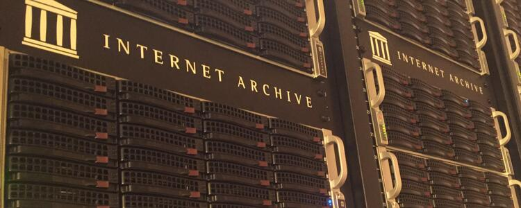 "Stack of Internet Servers with title/logo of ""Internet Archives"""