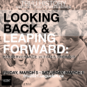 Tri-U conference poster 2021. Looking Back and Leaping Forward Text in front over B&W image of a returning soldier and a crowd
