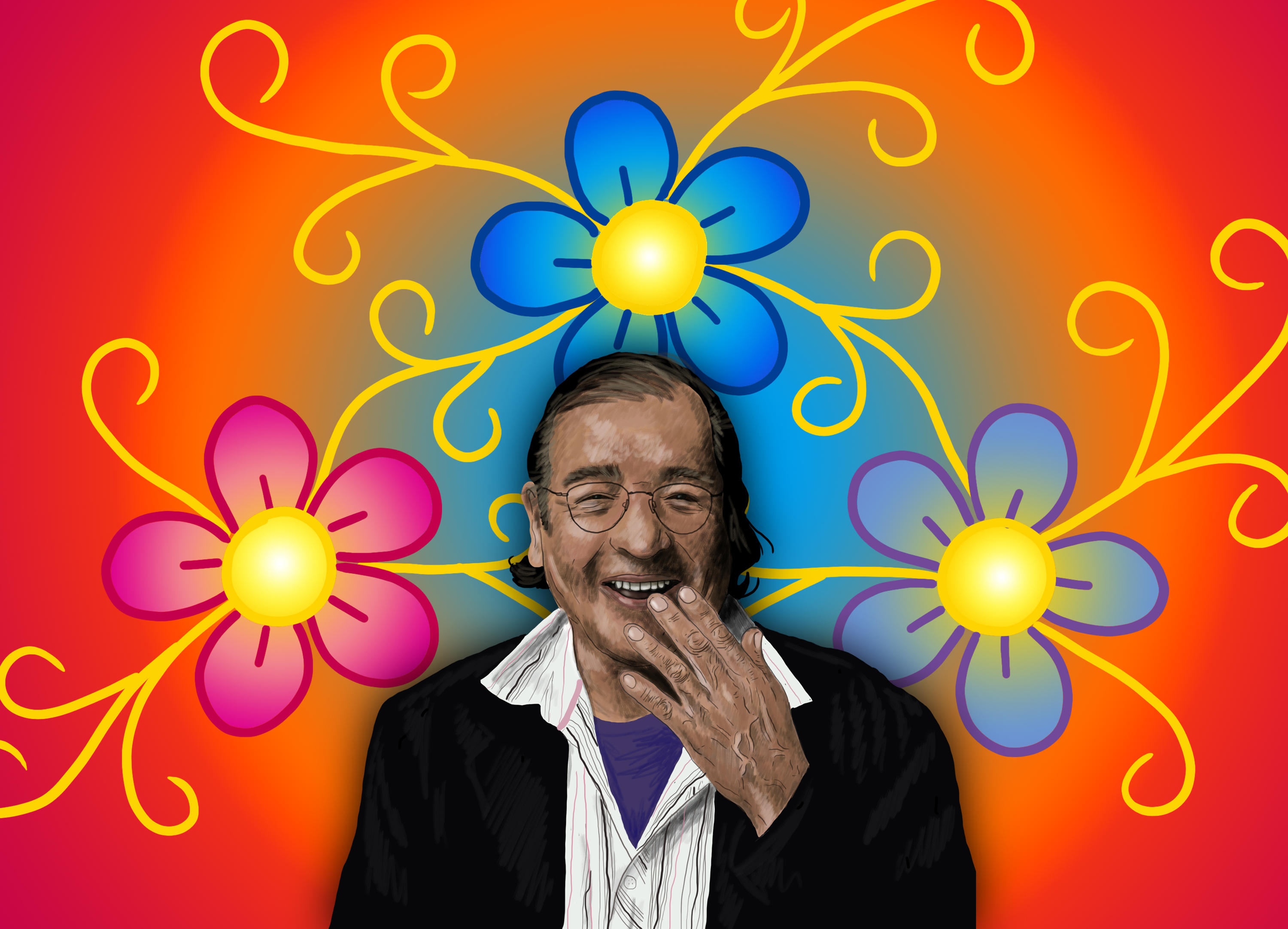 Illustration of Tomson Highway with flowers