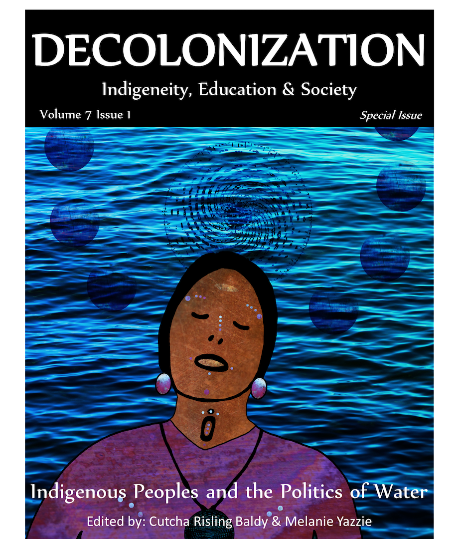 Painting of water and an indigenous individual.