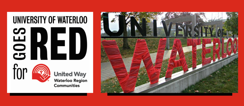 Go Red Day Logo and University of Waterloo sign wrapped in red