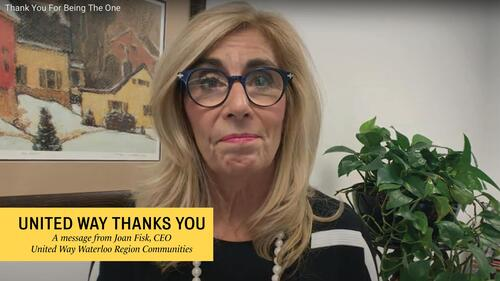 Joan Fisk, CEO of United Way Waterloo Region and Communities, stilled image of 2019 campaign thank you video