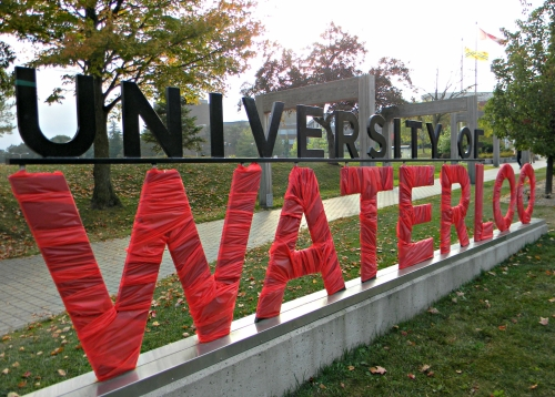 UWaterloo sign wrapped in red