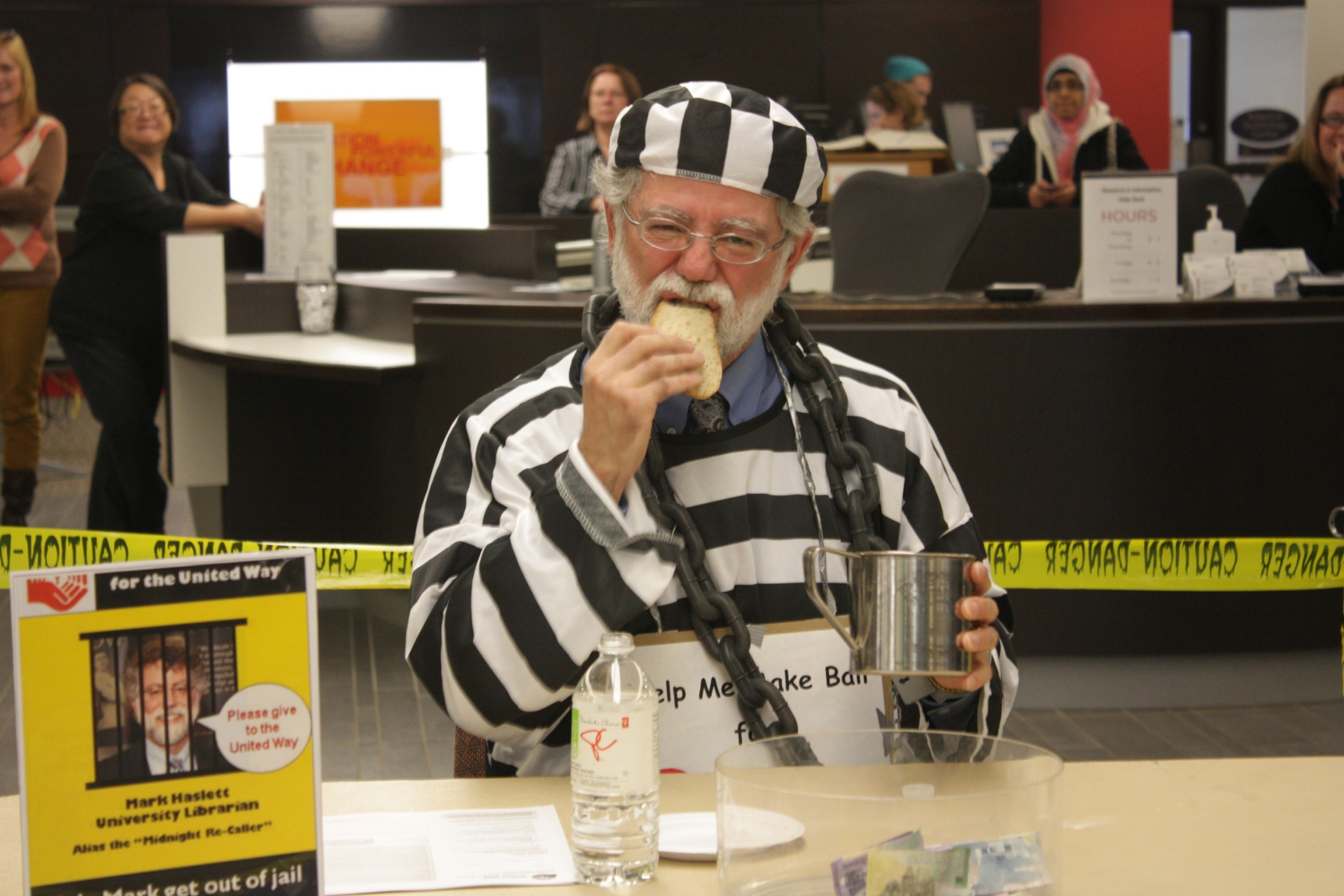 Mark Haslett is arrested for the United Way