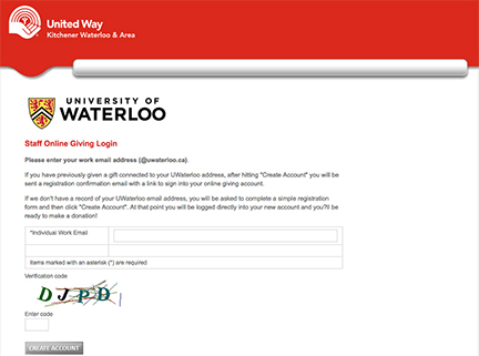 United Way ePledge form