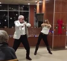 Principal Brown performing Gangnam style