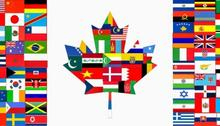 Canada flag with other countries flags