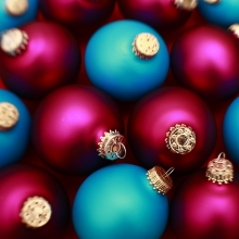 Blue and red Christmas balls