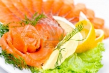 smoked salmon rose with lemon and dill