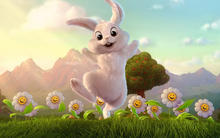 Joyful bunny in flowers