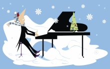 cartoon of man playing piano in the snow
