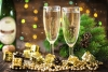 champagne flutes and boughs
