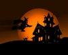 witch flying over house at night