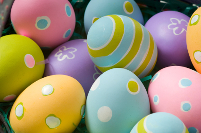 pink, yellow and blue coloured eggs