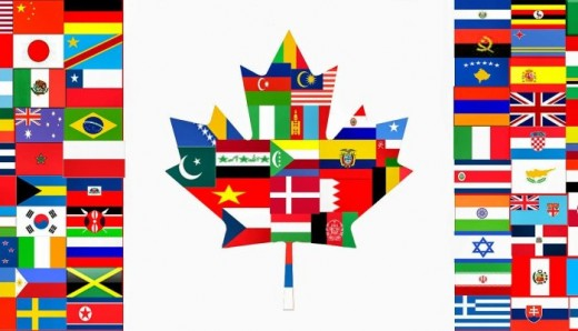 Canadian flag made of world flags
